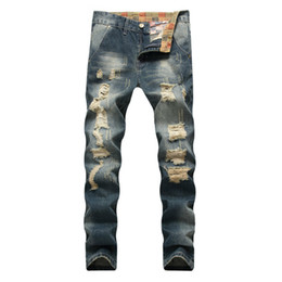 женские джинсы из хип-хопа оптовых-Jeans men Urban Hip Hop Hombre Streetwear Classic Holes Jeans Man Straight Leg Torn Slim Fit Denim Pants Ripped Trousers Male