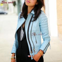 Опт Синяя кожаная куртка с ромбами для женщин Заклепка-панк Мото Пальто Искусственная куртка jaquetas couro Casaco chaqueta cuerina mujer
