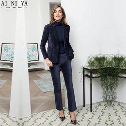 ce688370e4a NEW 2018 Navy Velvet 2 piece set women business suits ladies elegant pant  suits female office uniform slim women trouser suit