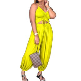 e1bba5d5ab9 Plus Size 3xl Casual Rompers Womens Jumpsuit Sexy V Neck Loose Long Halter Sleeveless  Overalls Backless Loose Playsuit