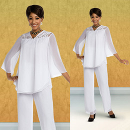 $enCountryForm.capitalKeyWord Australia - White Twoo Pieces Mother Of Bridal Pant Suits For Wedding Formal Outfit Garment Long Sleeve Prom Evening Dress