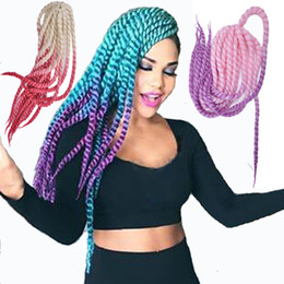 "Discount grey braiding hair - Luxury For Braiding Syntheic Hair 120g 20"" 12strands pc Green Purple Brown Blue Grey Ombre Havana Twist Crochet Bri"
