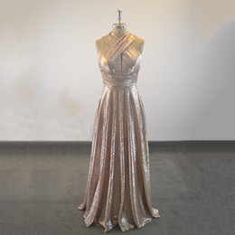 Discount sample prom dresses - Sparkly Sequins Long Evening Dresses 2018 Sexy Halter Neckline Criss Cross Straps Dubai Prom Gowns Real Sample Evening P