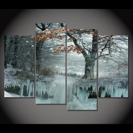 freezing figure NZ - 4 Piece Canvas Painting Frozen Snow Tree HD Printed Canvas Art Prints Wall Art Home Decor Poster Pictures for Living Room XA181B