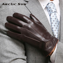 winter man genuine leather gloves NZ - Top Quality Genuine Leather Gloves For Men Thermal Winter Touch Screen Sheepskin Glove Fashion Slim Wrist Driving EM011 D18110705