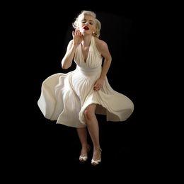 $enCountryForm.capitalKeyWord NZ - White Custom made Pleated Chiffon Evening Dress Marilyn Monroe Celebrity Dress