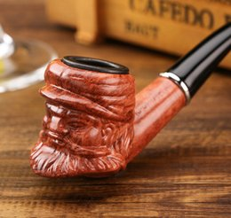 Discount cigarette holders for men - Creative Resin Pipe Wood Acrylic Cigarette Holder Old Men Head Pipes Bend Type with Box for Men's Gift