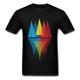 mountain tees NZ - Mountain Reflections Tshirts Slim Fit T Shirt Men Tops & Tees 2018 Discount Clothes Vaporwave O-Neck Tee-Shirt Geometric Black