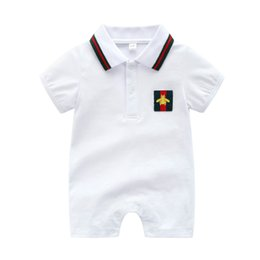 BaBy toddler halloween online shopping - Cartoon Summer Infant Boys rompers Baby Girls stripe lapel short sleeve jumpsuits Cute Toddler Newborn bee embroidery Bodysuit Y025