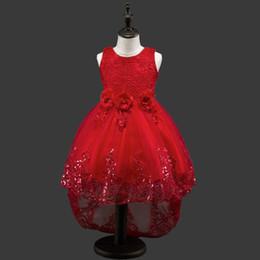 $enCountryForm.capitalKeyWord Canada - New Girls Embroidery Sequin Lace Flower Dresses For wedding Princess Girls Birthday party dress handmade flower beading sash Tulle dress D16
