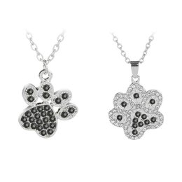 wholesale paw print Australia - Cat and Dog Paw Print Necklace Crystal Rhinestone Pendant Necklaces Pawprint Jewelry Animal Lover Gift Pet Memorial Love My Pet