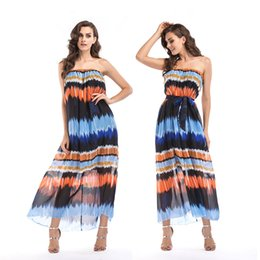 Wholesale Fashion Bohemian Women Sexy Strapless Dress Casual Striped Beach Dresses Female Sexy Maxi Dress Club Wear Plus Size xl xl xl