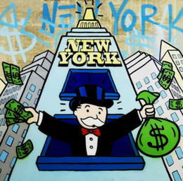 $enCountryForm.capitalKeyWord NZ - Alec Monopoly Handpainted & HD Print Cartoon Graffiti Pop Art Oil Painting New York Party On Canvas High Quality Multi size g245