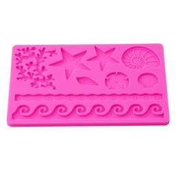 Chinese  Underwater World Conch Shell Silicone Mould 3D DIY Wave Star Fondant Cake Decoration Tools Embossing Mold Kitchen Baking Moulds manufacturers