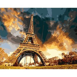 Paintings Homes Australia - Frameless The Eiffel Tower Landscape Diy Digital Painting By Numbers Modern Wall Art Canvas Acrylic Picture For Home Decor 40x50