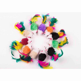 $enCountryForm.capitalKeyWord NZ - fat cat toysLovely Mouse for Cat Dogs Funny Fun playing with feather Pet supplies Mixed color 100pcs lot