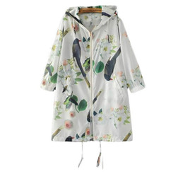 Wholesale coats hoods for women resale online - long coat with a hood with pockets in autumn print coat a hooda long sleeve For women Casual dissenters zipper