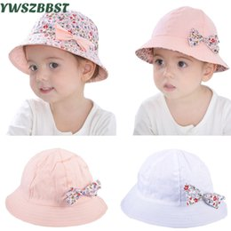 2e7f67e28db Summer Baby Girls Sun Hat Coon Baby Hat Kids Child Cap Bowknot Flower Print  Bucket Double Sided Can Wear