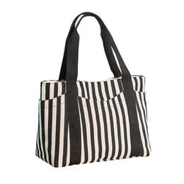 Stripe canvaS tote beach bagS online shopping - Women Travel Shopping Canvas Handbag Female Large Capacity Casual Tote Girl Stripe Shoulder Bag Weekend Bag Purse Beach Gift