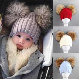 cbcf88ce4a0 Fashion Winter Children Knitted Hat With 2 Plush Balls Fur Pompoms Keep  Warm Cap Boys Girls Beanie Hats XRQ88