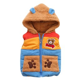 Wholesale 2018 New fashion Autumn Winter Boys Baby Kids Outerwear Bear Cartoon Hooded Warm Coat Clothes stem4