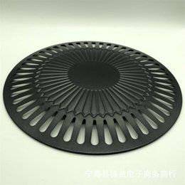 Round Cooking Pan NZ - High Quality Roasting Pans Cooking Tools Black Round Gas Grill Pan Smokeless Barbeque Grills Outdoors Picnic Tool 15dy ii