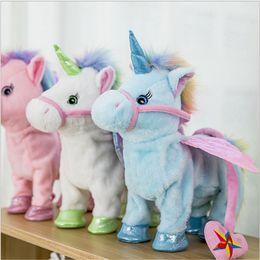 $enCountryForm.capitalKeyWord NZ - Electric Walking Unicorn Plush Doll Toys Stuffed Animal Toy Electronic Music Singing Unicorn Toys for Chinldren Christmas Gift