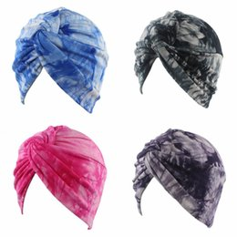 Skull tieS online shopping - India Elastic Headscarf Tie Dyed Muslim Beanies Knitted Hat Keep Warm Fashion Weave Force Personalities Designer jd AZ