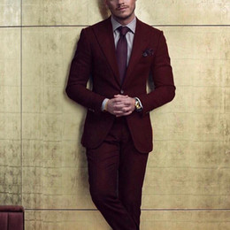 tuxedo lapel styles Australia - 2018 Burgundy Groom Tuxedos for Men Suit Peaked Lapel Blazer Two Piece Jacket Pants Latest Style Male Suits