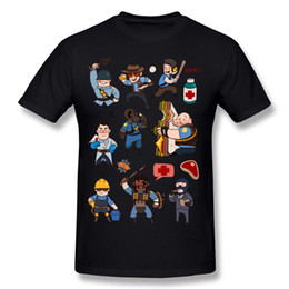 printed t shirt fabric UK - Low Price Man 100% Cotton Fabric Team Fortress 2 All Class T-Shirt Man O-Neck Dark Green Short Sleeve T Shirt Plus Size Simple Style T-Shirt