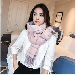 womens pink ring NZ - Winter Thicken Plaid Scarves Womens Long Style Cashmere Tassel Scarf Pashmina Student Casual Fashion Plaid Scarves Shawl For Sale