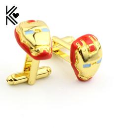 $enCountryForm.capitalKeyWord Canada - Top Grade Superman Style Iron Man Golded Enamel Cufflinks For Mens And Women Shirt Brand Cuff Button Cuff Links Jewelry