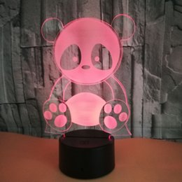 Christmas Panda Cartoon NZ - 3D Night Light Panda LED Illusion Desk Table Lamp 7 Colors Change USB Cable Touch Button Christmas Birthday Gift Kids Wholesale Dropshipping