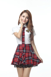 $enCountryForm.capitalKeyWord UK - Preppy Style School Girl Uniform Pure White Short Sleeve Blouse Plaid Skirt With Tie British Student School Uniform Suit