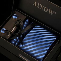 Mens Tie Boxes Canada - Tie Set Brand Mens Ties Causal Jacquard Woven Ties for Men Handkerchief Cufflink Business High-grade Gift Box 6 Sets Necktie