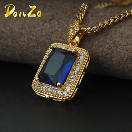 26561bfc9eaf Nuevo encanto de oro negro rojo collar de gemas colgante Bling helado de  enlace de piedra cadena hip hop para hombres mujeres joyas regalos
