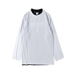 oversized long t shirts UK - TOP hipster streetwear kpop hiphop vetements Men women long sleeve oversized t shirt hip hop brand white black stripe cotton tee