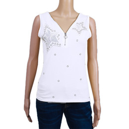 3199d8fff1a Sexy Tshirts Women For Summer 2018 Plus Size S-5XL Sleeveless V Neck Zipper  Pear Beading Tee Top Feminina Clothes WS9844Y
