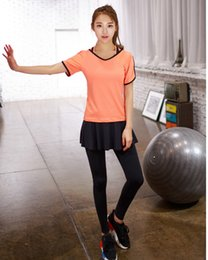 Discount red bra shirts - Women Yoga Suit Three Pieces Suit Summer Sport Gym Tracksuit Fitness Bra Culottes Running V-neck T-shirt Set 4 Colors LJ