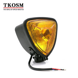 Discount headlights ktm - TKOSM 10mm Universal Motorcycle Headlights H4 12V 60 50W Hi Lo Beam Lamp Cafe Racer for Dyna Honda Cafe Racer