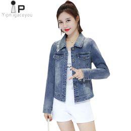 109d8600263c Discount short women big breasts - Vintage Autumn Embroidery Denim Jacket  Women Korean Befree Big Size