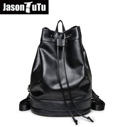 $enCountryForm.capitalKeyWord Canada - Male backpack for Teenager Drawstring schoolbag back pack Good quality Black PU leather Men's backpack Mochila Rucksack B606