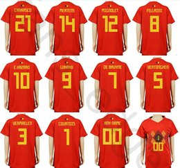 Boy Jerseys NZ - Kids Belgium Soccer Jerseys 10 E.HAZARD 9 LUKAKU FELLAINI 7 DE BRUYNE MIRALLAS COURTOIS MERTENS Home Red Custom Youth Boys Football Shirts