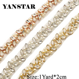 YANSTAR Bridal Pearls Wedding Dress Belts Rhinestones Appliques Trim By The  1 Yard  2cm For Bridal Sash Gold Crystal YS879 2965d4c8aa93