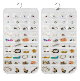 $enCountryForm.capitalKeyWord Canada - Earring Bag 80 Pockets Jewelry Hanging Storage Organizer Holder Transparent Business Membership Card Holding Bag