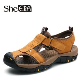 $enCountryForm.capitalKeyWord Canada - She ERA Mens Sandals Genuine Leather Cool Summer Slippers Outdoor Beach Men Casual Shoes Plus Size 38-46