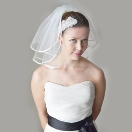 "layer hair cuts Canada - 12"" shoulder length wedding veil with folded satin ribbon. Bridal cheap wedding veil bride birdcage party hair accessories"