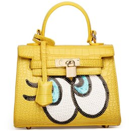 Black Button eyes online shopping - 2018 new women s cartoon bags sequins with big eyes decorative buttons shimmer glitter handbags fashion handbags for lady