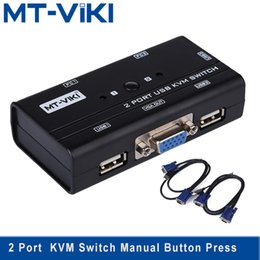 Wholesale Mt Viki Port VGA swith KVM Switch Manual Button Press Select Orginal Cables PC Share Monitor with Keyboard Mouse MT KL