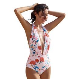 e88efd2030 2018 Flower Swimwear One Piece Swimsuit Women Push Up Bathing Suit Back  Cross Bandage Monokini Beach Wear Retro Swim Suit